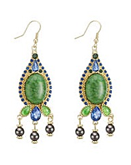 Mood Green stone chandelier earring