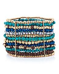 Mood Green tonal beaded stretch bracelet