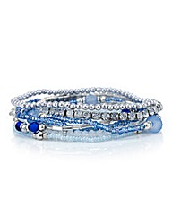 Mood Blue crystal stretch bracelet set