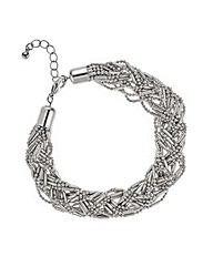 Mood Silver bead plaited twist bracelet