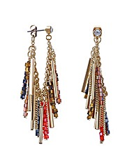 Mood Beaded fringe lobe earring