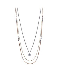 Mood Crystal disc multi row necklace