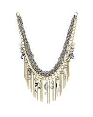 Mood Grey stone statement chain necklace