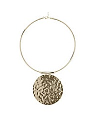 Mood Gold hammered disc necklace