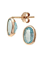 9ct Gold 1.2Ct Blue Topaz Earrings