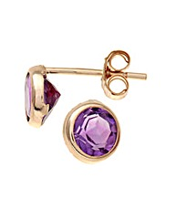 9ct Gold 0.8Ct Amethyst Earrings
