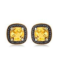9ct Gold Black Diamond and Citrine Stud