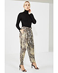 Elvi Snake Print Trousers With Buckle