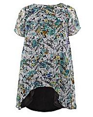 Koko Floral Print Dip Hem Tunic Dress
