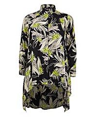 Koko Leaf Print Dip Hem Shirt