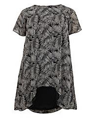 Koko Palm Leaf Print Dip Hem Tunic Dress