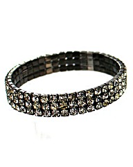Diamante Three Row Elasticated Bracelet