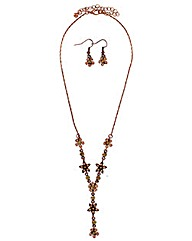 Diamante Flower Necklace And Earring Set