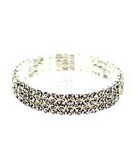 Diamante Three Row Elasticated Bracelet
