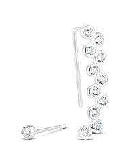 Simply Silver Ear Crawler And Stud Set