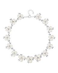 Alan Hannah Pearl Crystal Spray Necklace