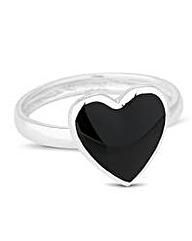 Simply Silver Onyx Heart Ring