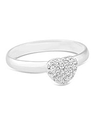 Simply Silver Embellished Heart Ring