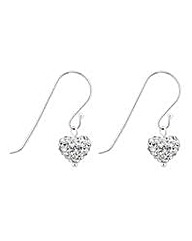 Simply Silver Crystal Heart Drop Earring