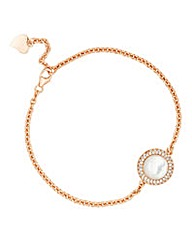Simply Silver Rose Gold Pearl Bracelet