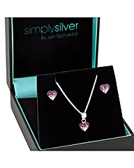 Simply Silver Purple Crystal Heart Set