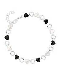 Simply Silver Onyx Pearl Heart Bracelet