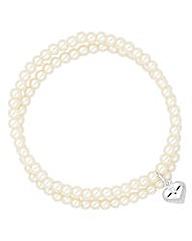 Simply Silver Heart Charm Pearl Bracelet