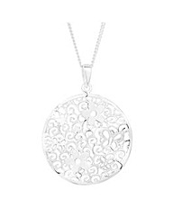 Simply Silver Floral Disc Drop Necklace
