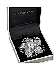 Jon Richard Pearl Crystal Floral Brooch
