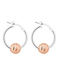 Simply Silver Rose Ball Hoop Earring