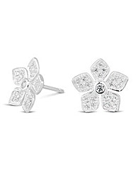 Simply Silver Embellished Flower Earring