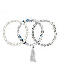 Jon Richard Beaded Pearl Bracelet Set