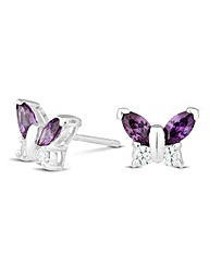 Simply Silver Purple Butterfly Earring
