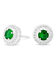 Simply Silver Clara Green Stud Earring