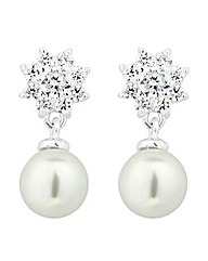 Simply Silver Pearl Flower Drop Earring