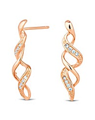 Simply Silver Rose Gold Twist Earring