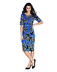 Petite Cobalt Print Twist Front Dress