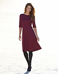 Fit and Flare PU Trim Ponte Dress