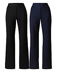 Pack 2 Straight-Leg Trousers Extra Short