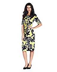 Petite Yellow Print Twist Front Dress