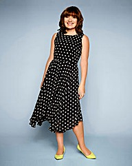 LK Spot Dipped Hem Dress knee length