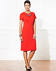 Plain Crepe Shift Dress Knee Length