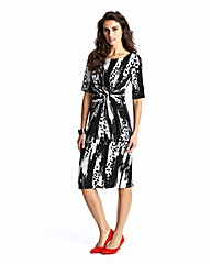 Petite Graphic Print Twist Front Dress