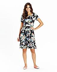 Floral Printed Jersey Skater Dress