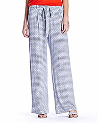 Print Jersey Wide Leg Trousers Regular