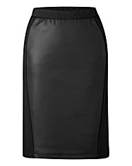 Pull On Panelled PU Pencil skirt
