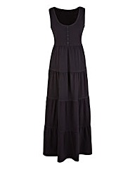 Plain Black Tiered Jersey Dress 47in