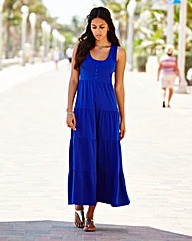 Plain Tiered Jersey Dress 47in