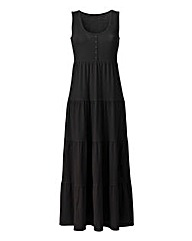Plain Black Tiered Jersey Dress 50in