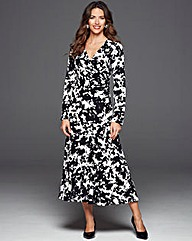Fluted Hem Mono Print Wrap Dress